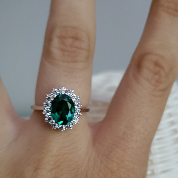 Jewelry Sterling Silver Halo Emerald Ring Nib Poshmark